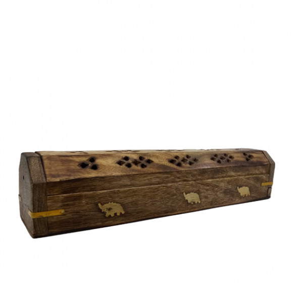 Incense Burner W/ Elephant Design In Coffin Style 12in