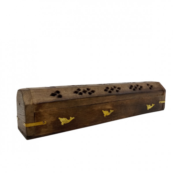 Incense Burner W/ dolphin Design In Coffin Style 12in