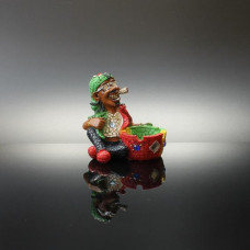 Ashtray Ceramic Smoking Rasta Guy Sitting w/Bucket