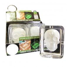 Ashtray Glass Skull GID 6pc/Display