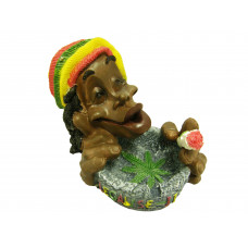 Ashtray Ceramic Smoking Rasta Guy's Head W/Leaf 128