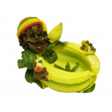 Ashtray Ceramic Rasta Guys Head Resting On Bananas W/Leaf 13