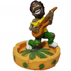 Ashtray Ceramic Guy Holding Guitar with leaf