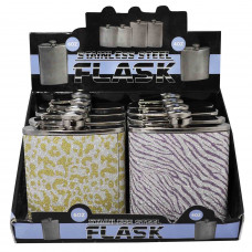 Flask Stainless Steel 6oz Asst Printed Colors