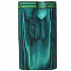 "Tobacco Wood Box 3"" Green Color Plain w/Poker"