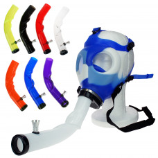 Gas Mask w/Curved Acrylic Pipe  Blue & white Color