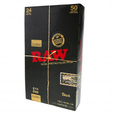 Rolling paper Raw black natural unrefined 1 1/4  24/box